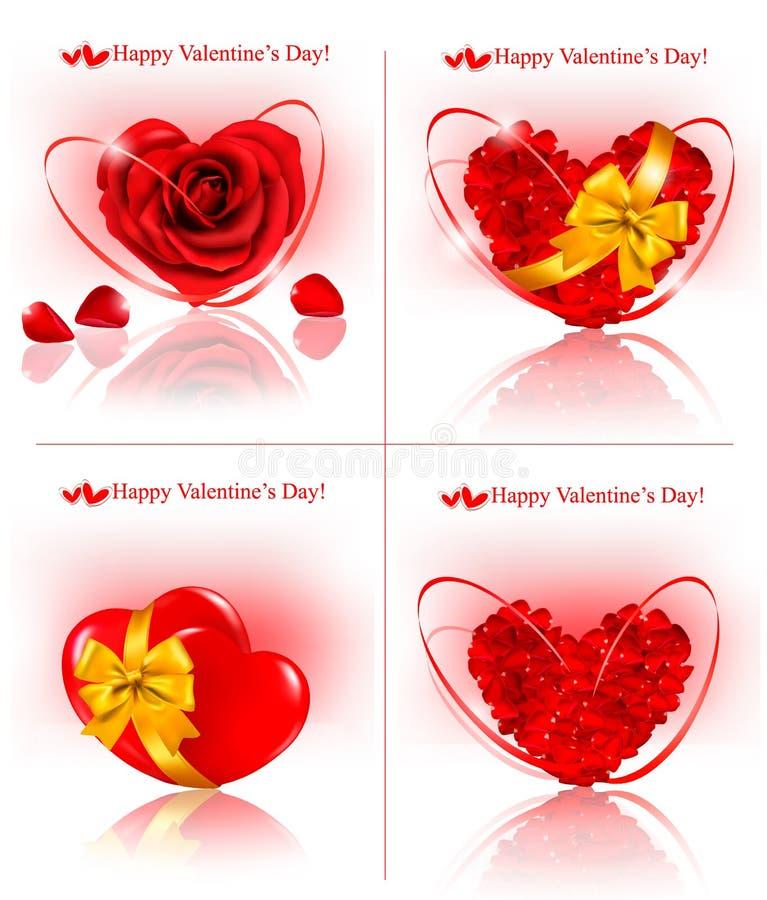 Set Valentinsgruß `s Tagesfahnen. Rote Innere gebildet von lizenzfreie abbildung