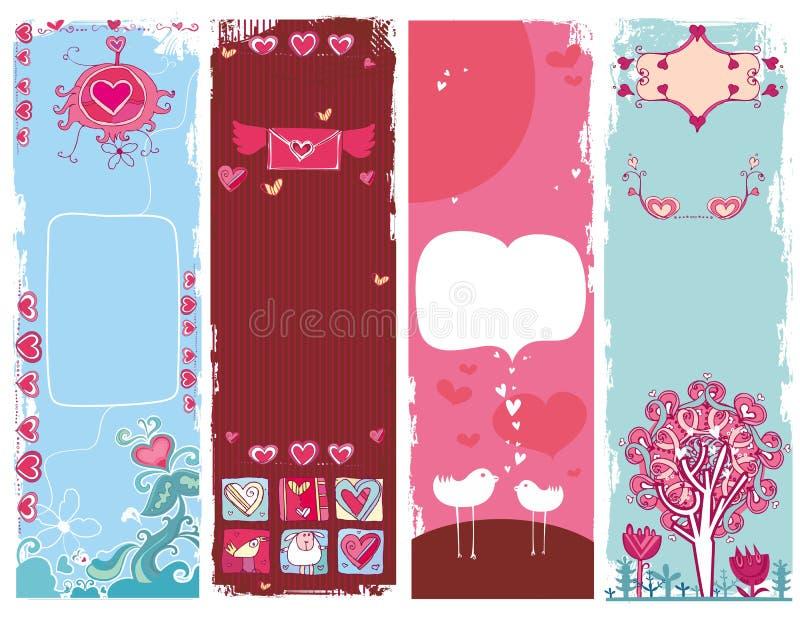 Set Valentinstag grunge Fahnen 1 lizenzfreie abbildung