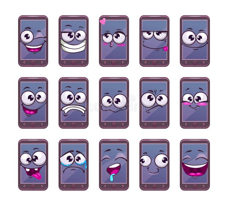 Set van tekens van de beeldverhaal de mobiele slimme telefoon vector illustratie
