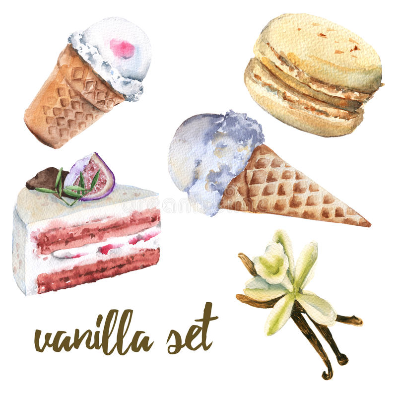 Set vanilla sweets. Cake, candy, ice cream and macaroon. royalty free illustration