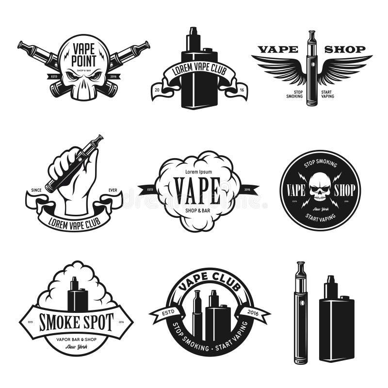 Set of vape, e-cigarette emblems, labels, prints and logos. Vector illustration. Set of vape, e-cigarette emblems, labels, prints and logos. Vector vintage royalty free illustration