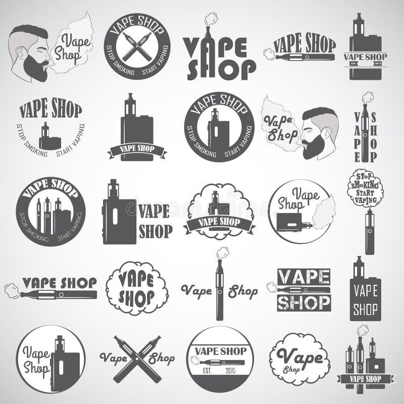 Set of vape, e-cigarette logo, emblems and badges isolated on white background. Vector illustration vector illustration
