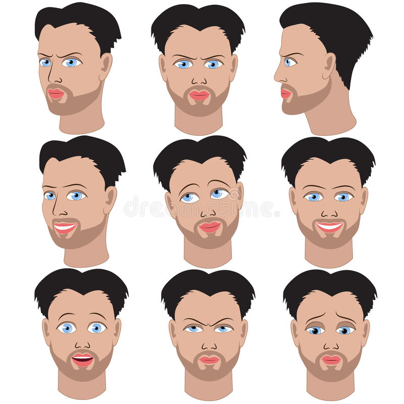 Set of variation of emotions of the same man with beard. Set of variation of emotions of the same guy with beard. He is remembering, thinking, sad, dreaming stock illustration