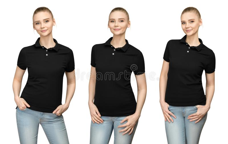 Girl in blank black polo shirt mockup design for print and template young woman in T-shirt front and half turn side view isolated. Set variations promo pose girl royalty free stock image