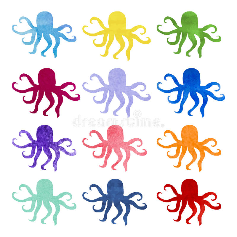 Set of varicolored watercolor hand drawn octopus stock illustration