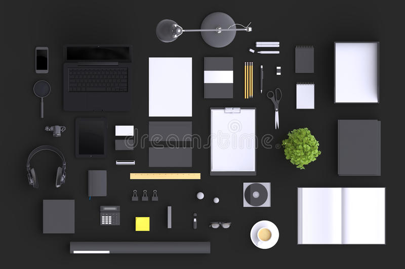 Set of variety blank office objects organized for company presentation or branding identity with blank modern devices. stock illustration
