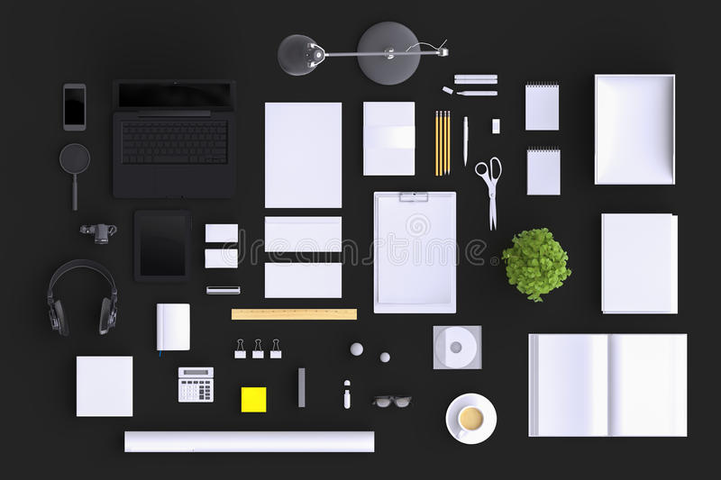 Set of variety blank office objects organized for company presentation or branding identity with blank modern devices. Mockup isolated on clear background. Top stock illustration