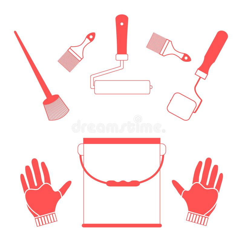 Set a variety of tools and accessories for painting royalty free illustration