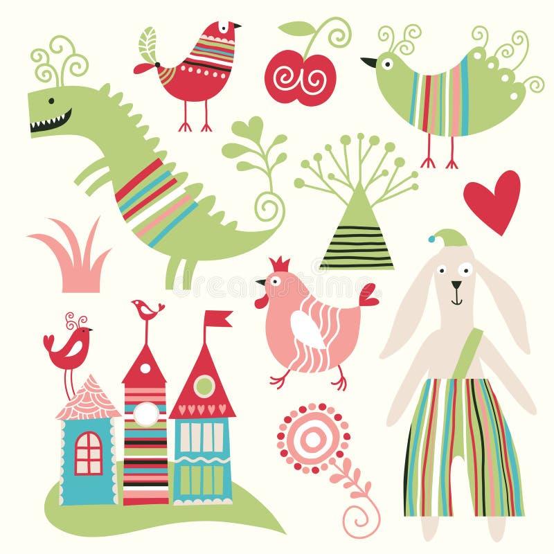 Set of various animals stock illustration