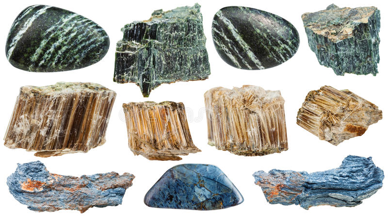 Set of various Asbestos mineral stones isolated royalty free stock image