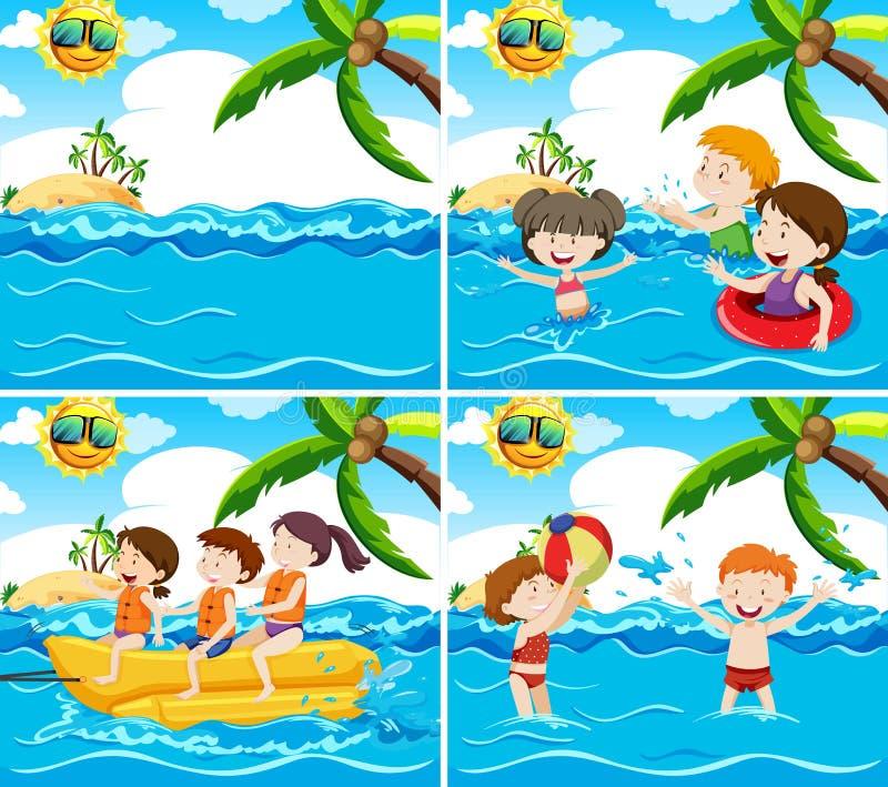 Set of various beach scene vector illustration