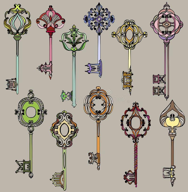 Set of beautiful and colorful vintage keys. royalty free illustration
