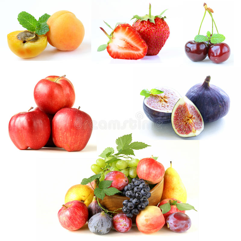 Set various berries and fruits royalty free stock photos