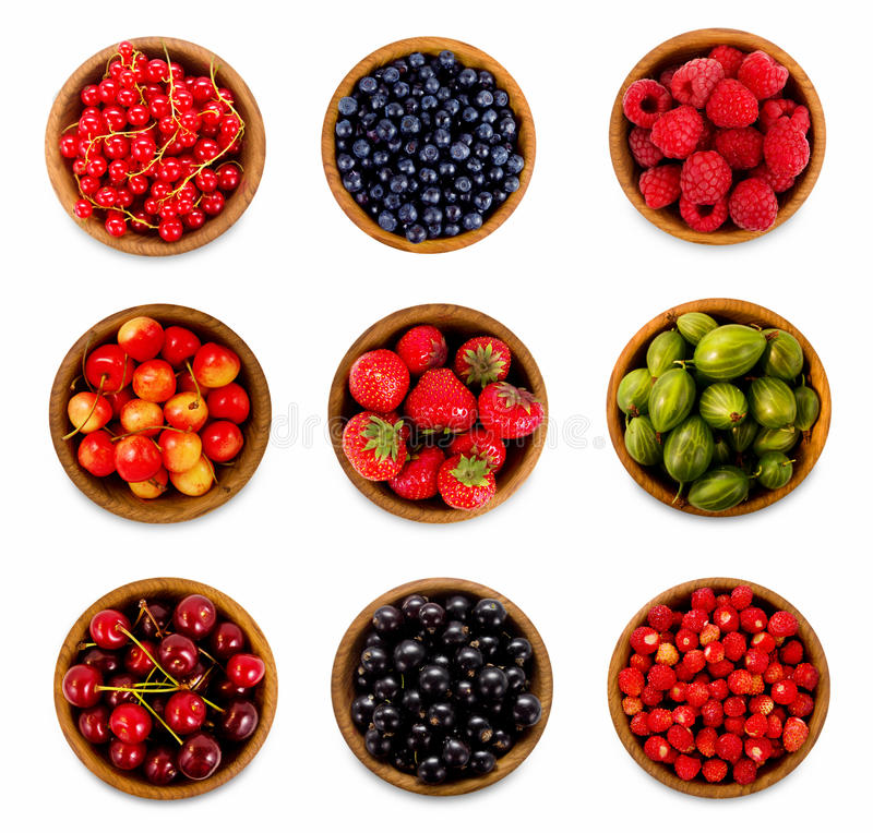 Set various berries. Strawberries, currant, cherry, raspberries, gooseberries and bilberry. royalty free stock image