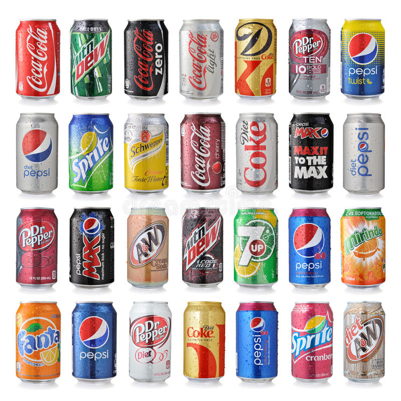 Set of various brand of soda drinks. LOS ANGELES, USA - DECEMBER 22, 2014 Collection of various brands of soda drinks in aluminum cans on white stock photography