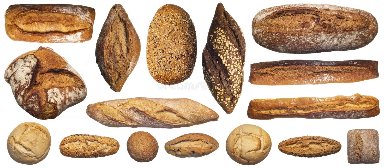 Set of various bread loaves isolated on white royalty free stock photos