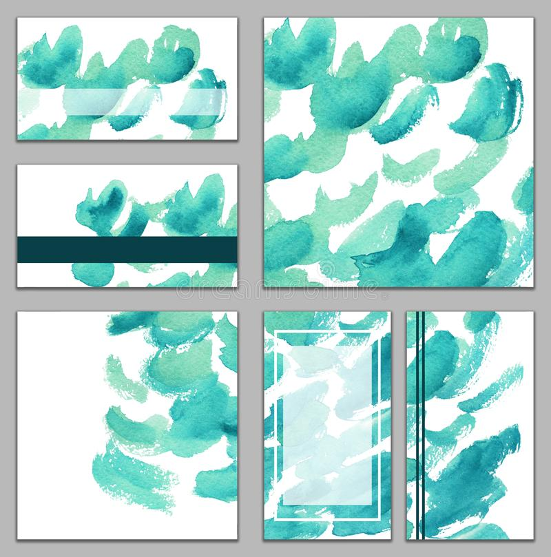 Set of various business cards, cutaways - abstract bright blue, azure watercolor hand-painted background vector illustration