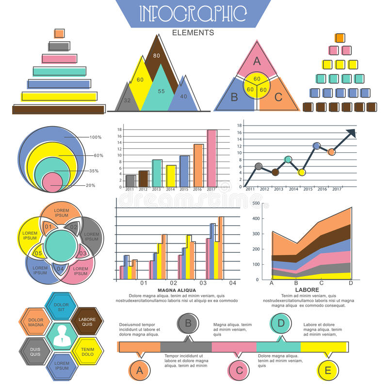 Set of various Business Infographic elements. Collection of various Infographics elements for your Business report and financial data presentation stock illustration