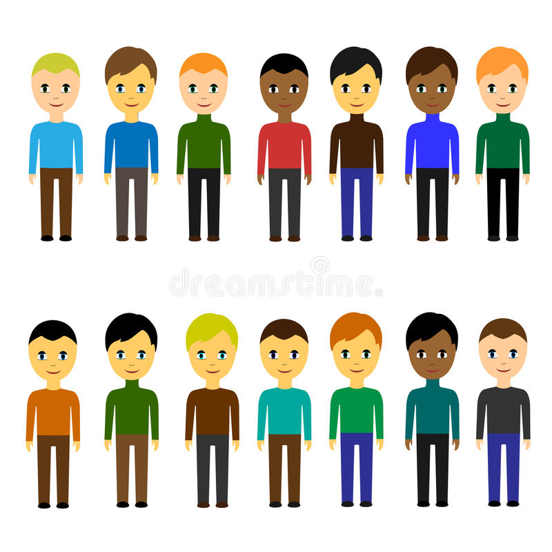 Set of various business people of different nationalities. Men. Simple flat style on white background vector illustration