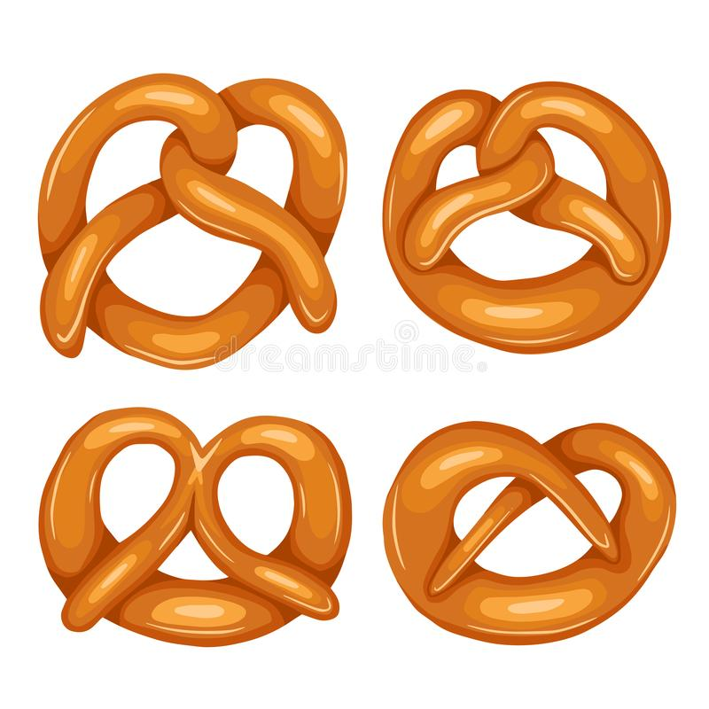 Set of various cartoon pretzels. Objects are separate from the background. German appetizer. Treats for the holidays. Bakery royalty free illustration