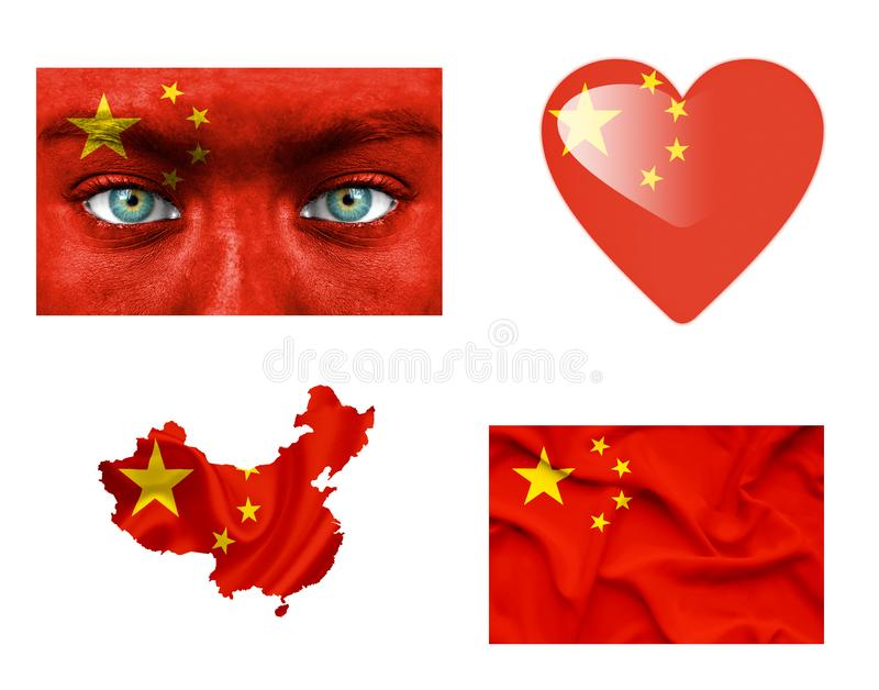 Set of various China flags stock illustration