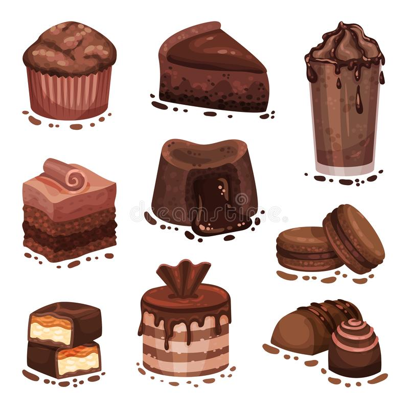 Set of various chocolate desserts. Vector illustration on a white background. Set of various chocolate desserts. Cupcake, cookies, candy, cocktail, cake. Vector royalty free illustration