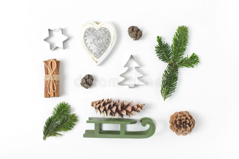 Set of various Christmas details: gifts, pine branches, toys on royalty free stock images