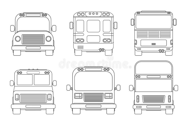 Set of various city bus. Front and back view. Outline vector illustration isolated on white. stock illustration