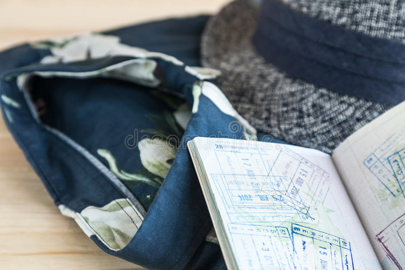 Set of various clothes and accessories for men. Set of clothes and various accessories for men on old wooden table stock images