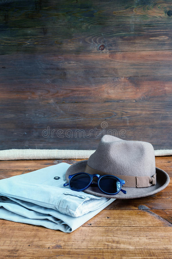 Set of various clothes and accessories for men stock photography