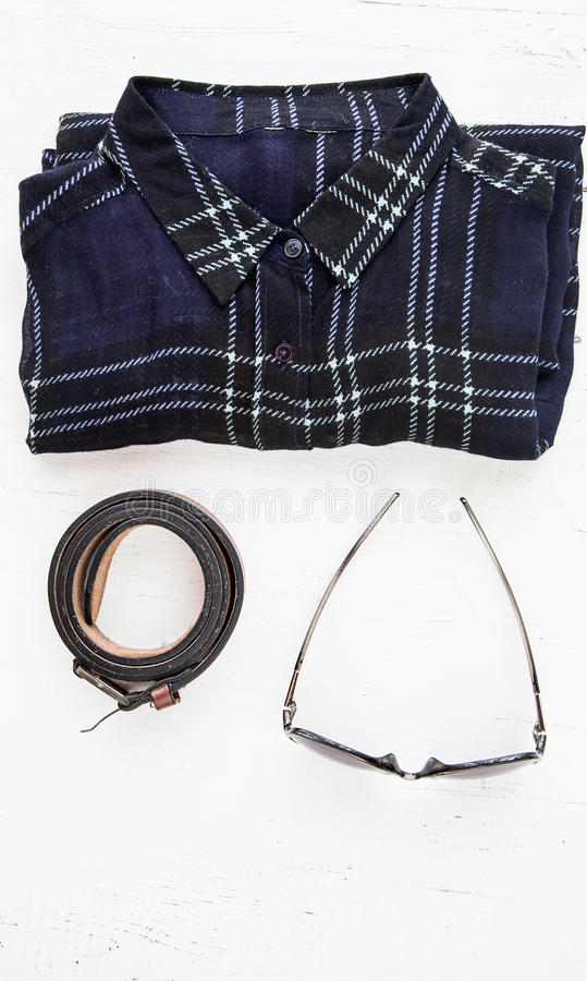 Set of various clothes and accessories for women stock photos