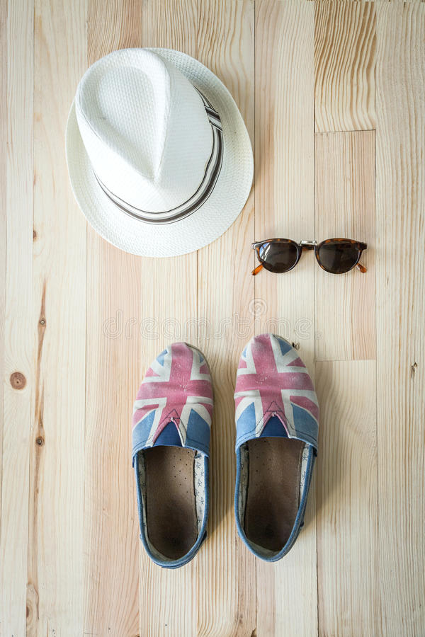 Set of various clothes and accessories for women stock images