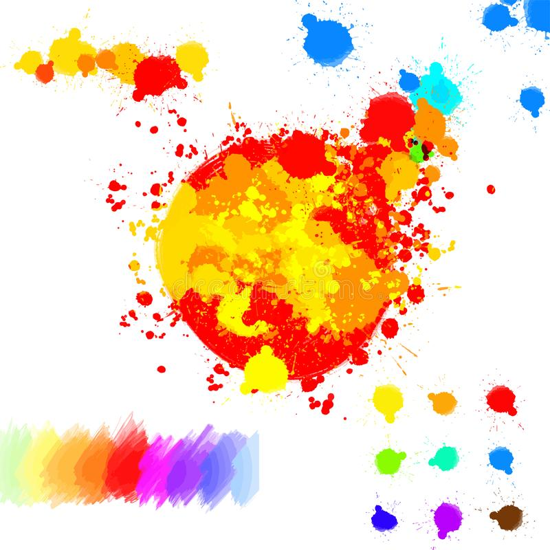 Set of various colorful ink splatter drops. Colored vector concept design. Hand-drawn digital asset stock illustration