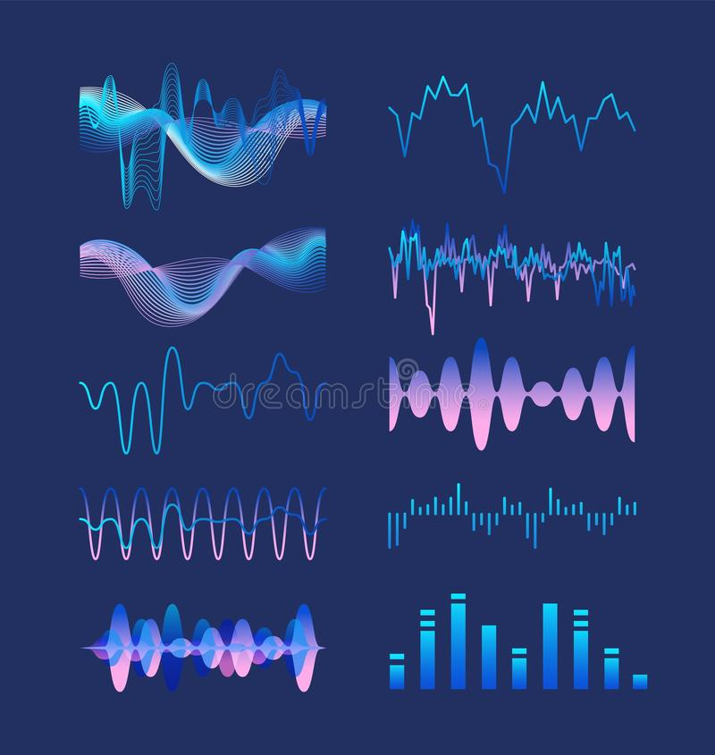Set of various colorful sound music waves, audio or acoustic electronic signals isolated on dark background. Bundle of vector illustration