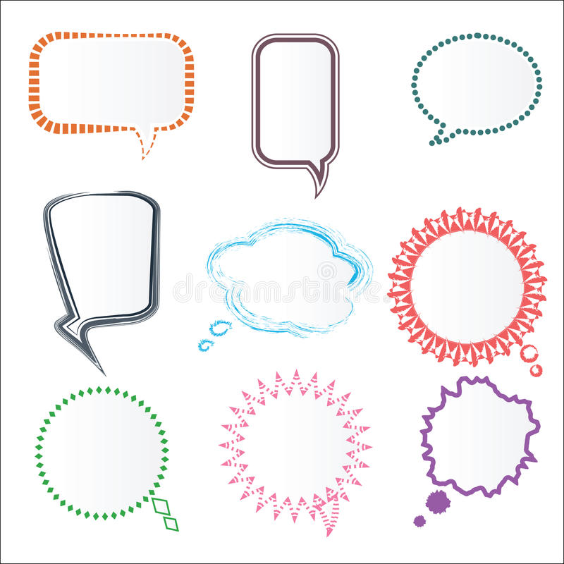 Set of Various Colorful Speech Bubbles in Different Frames, Vector vector illustration