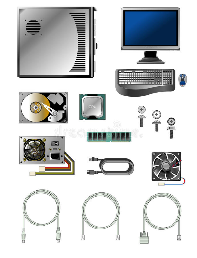 Set of various computer parts and accessories royalty free illustration