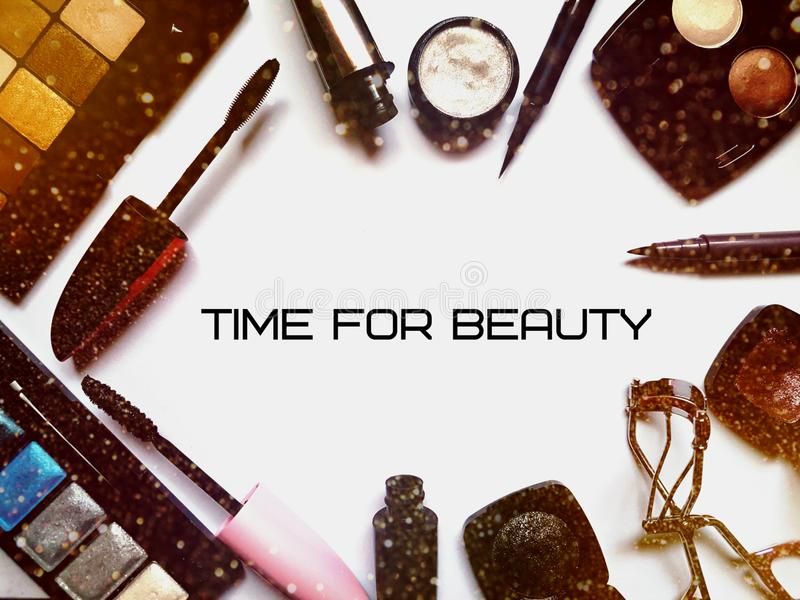 Set of various cosmetic products for eye makeup royalty free stock photo