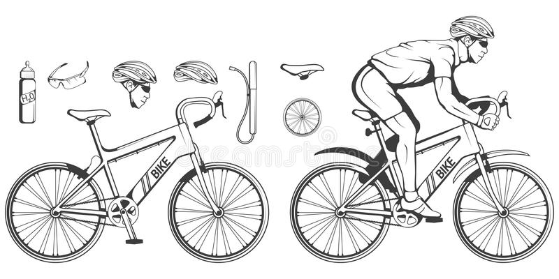Set of various cycling elements. Cyclist on a bicycle. Sports bike. Bicycle helmet. Man riding a bike. Vector graphics to design stock illustration