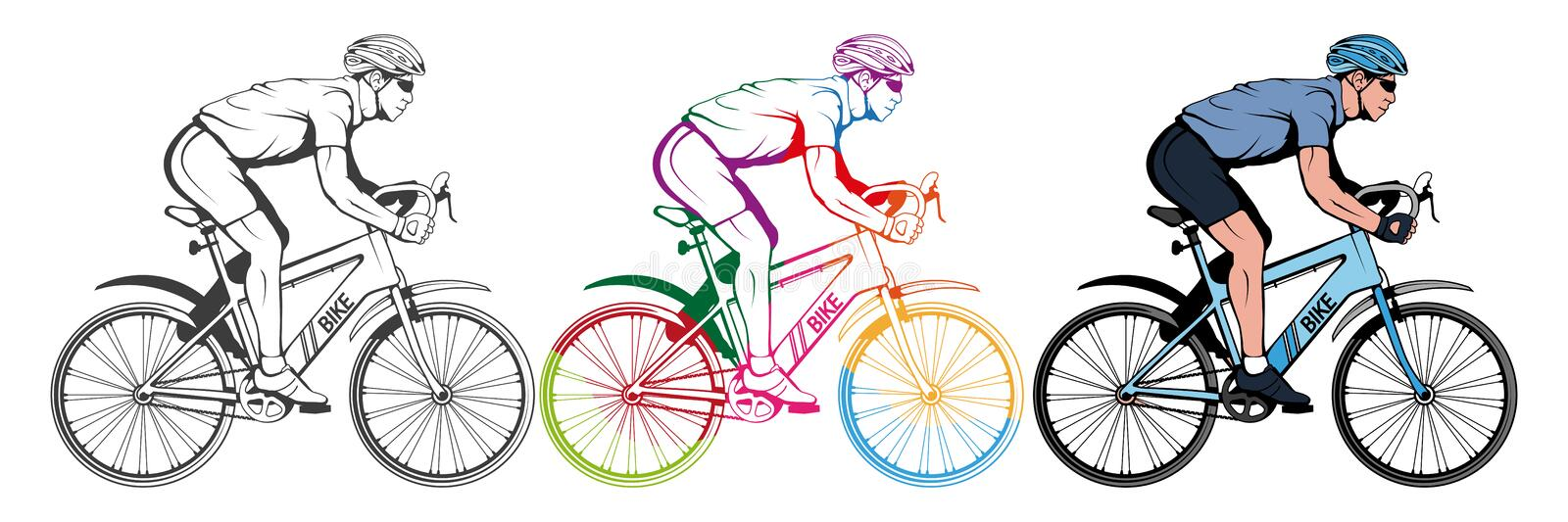 Set of various cycling elements. Cyclist on a bicycle. Sports bike. Bicycle helmet. Man riding a bike. Vector graphics to design royalty free illustration