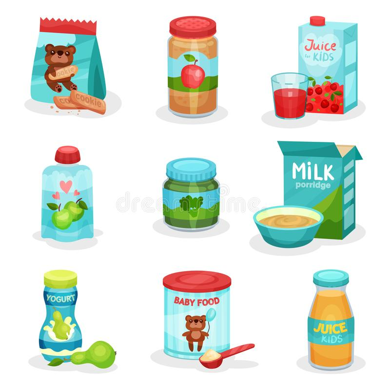 Flat vector set of food and drinks for babies. Natural yogurts and juices, fruit and vegetable puree, cookies and. Set of various food and drinks for babies royalty free illustration