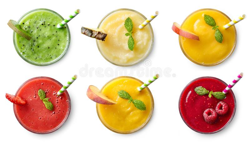 Set of various fresh fruit smoothies royalty free stock photography
