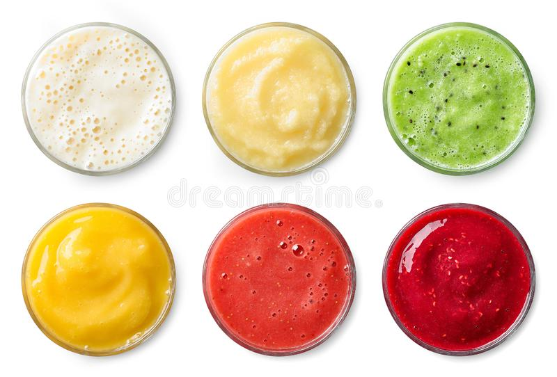 Set of various fresh fruit smoothies stock image
