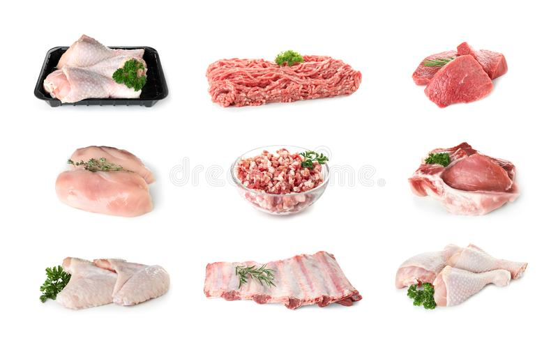 Set of various fresh raw meat stock photo