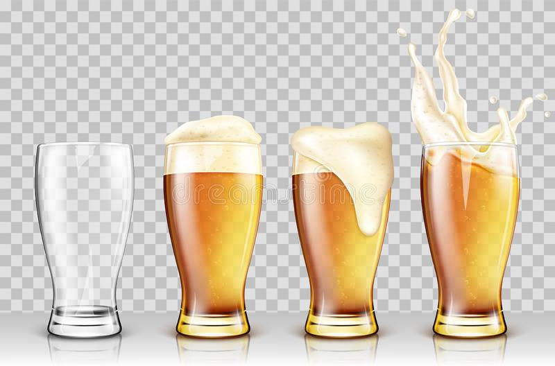 Set of various full and empty beer glasses vector illustration