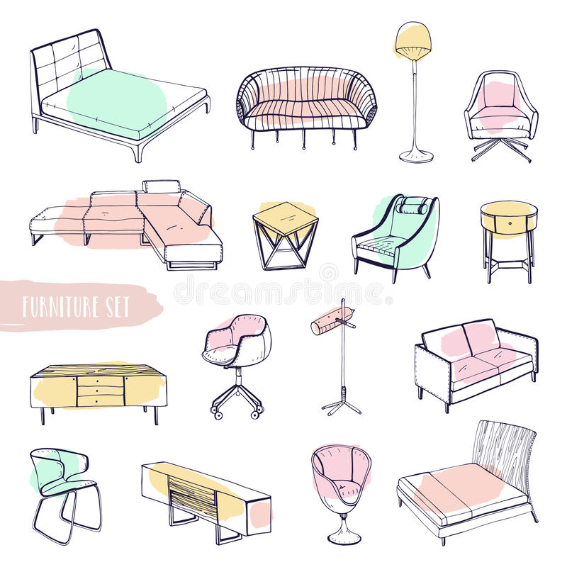 Hand Drawn Different Types Sofas, Chairs And Armchairs,