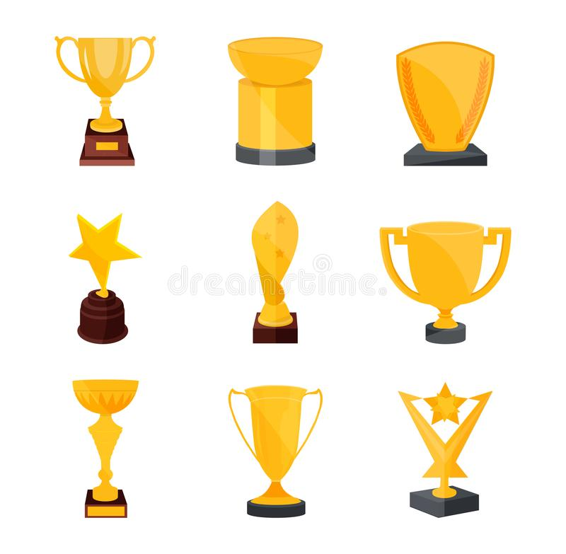 Set of various gold, bronze medals and cups. Golden trophy. royalty free illustration