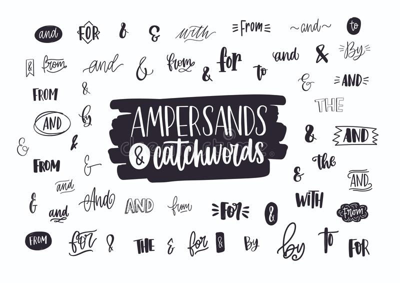 Set of various handwritten ampersands, conjunctions, prepositions and articles. Collection of elegant hand lettering royalty free illustration