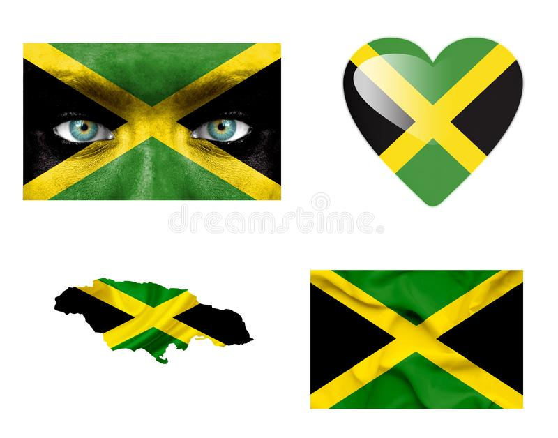 Set of various Jamaica flags stock illustration