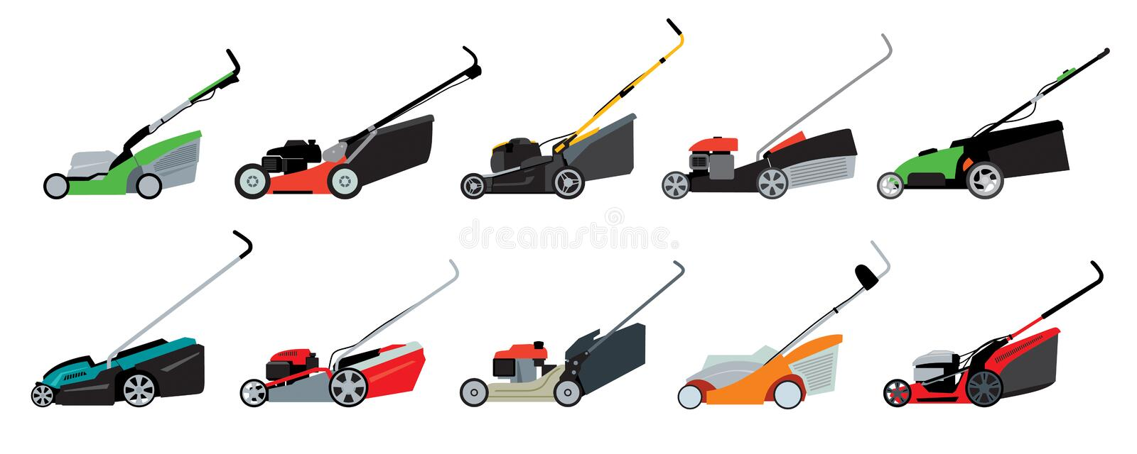 Set of various lawn mowers. Vector full color graphics royalty free illustration