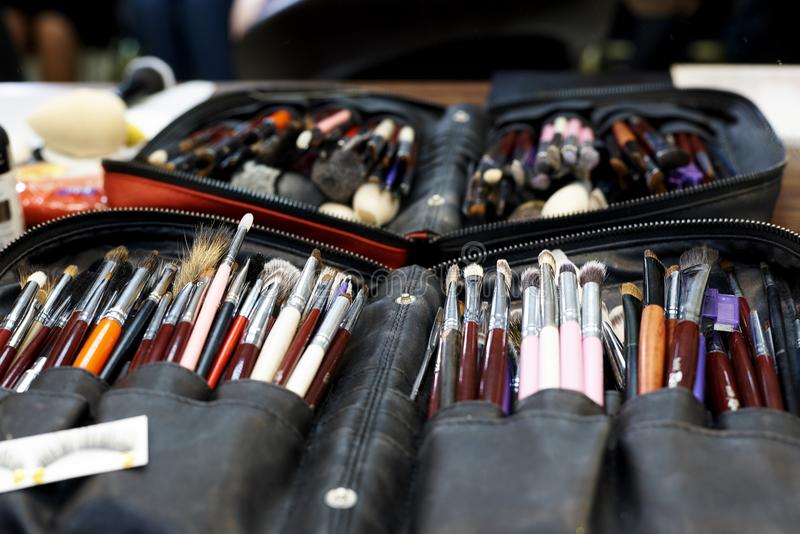 A set of various make-up brushes stock photo
